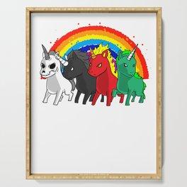 Unicorn Apocalypse Rider Rainbow joke gift Serving Tray