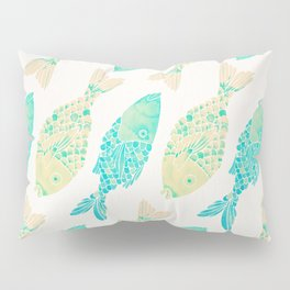 Indonesian Fish Duo – Turquoise & Cream Palette Pillow Sham