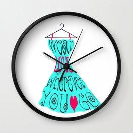 Wear Love Wherever You Go (aqua) Wall Clock