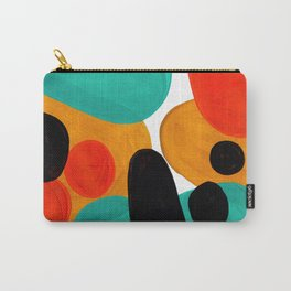 Mid Century Modern Abstract Minimalist Retro Vintage Style Rolie Polie Olie Bubbles Teal Orange Carry-All Pouch