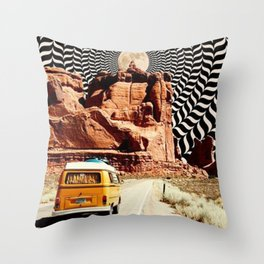 Illusionary Road Trip Throw Pillow