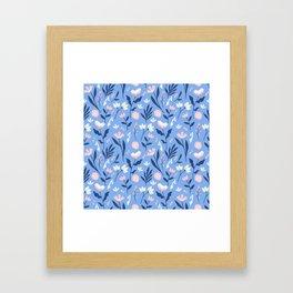 Floral Blue Pattern Framed Art Print