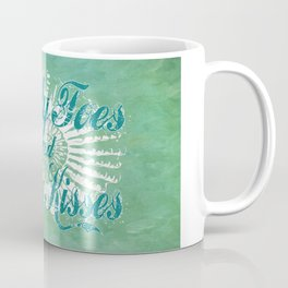 Sandy Toes and Salty Kisses with Nautilus Shell Graphic Design Coffee Mug