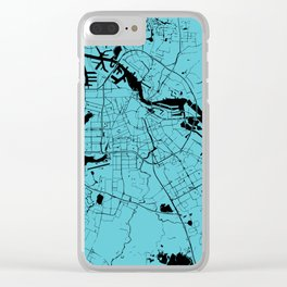 Amsterdam Turquoise on Black Street Map Clear iPhone Case