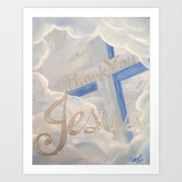 Thank You Jesus Clouds Cross Art Print