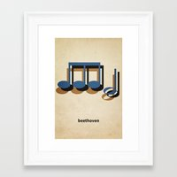 beethoven Framed Art Prints featuring Beethoven by materndesign