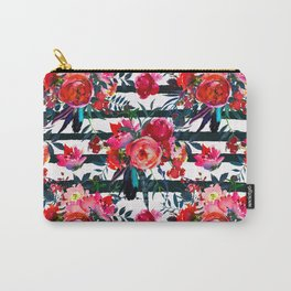 Magenta pink fuchsia black white watercolor floral stripes Carry-All Pouch