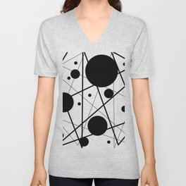 Abstract Lines and Dots Unisex V-Neck