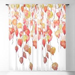 orange red crimson glory vine leaf watercolor Blackout Curtain