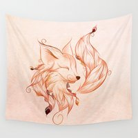 fox Wall Tapestries featuring Fox  by LouJah