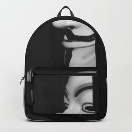 In Case of Revolution Break Glass - Guy Fawkes Mask Protest black and white photograph / photography Backpack