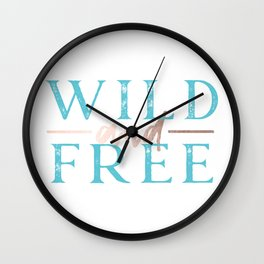 Wild and Free Turquoise Rose Gold Wall Clock