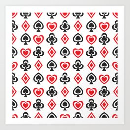 Aces Hearts Spades Diamonds Clovers Poker all Over Print Art Print