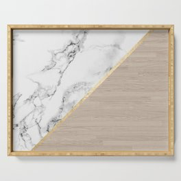 Modern white marble gold stripe wood color block Serving Tray