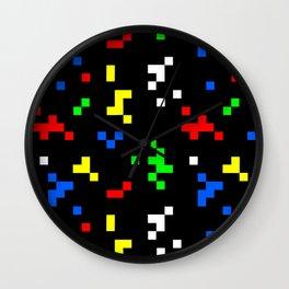 Retro 8 Bit Video Game Graphics Pattern Wall Clock