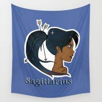 sagittarius Wall Tapestries featuring Sagittarius  by Jo Sharp