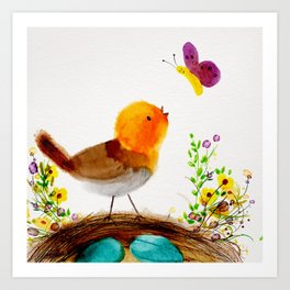 Folk art bird Art Print