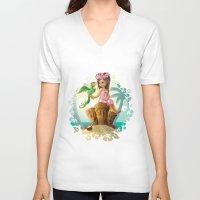 hawaiian V-neck T-shirts featuring Hawaiian Friends by Jon Thomson