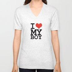 I love my boy Unisex V-Neck
