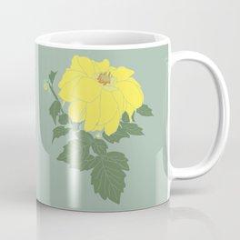 Yellow Dahlia Flower Illustrated Print Coffee Mug