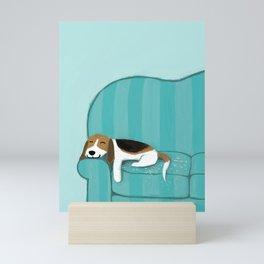 Happy Couch Beagle   Cute Sleeping Dog Mini Art Print
