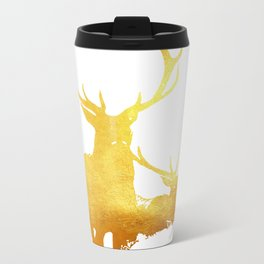Reindeer Gold Metal Travel Mug