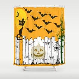 Black Cat on a Spooky Fence - Halloween Shower Curtain