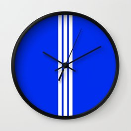 3 White Stripes on Blue Wall Clock