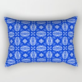 Sapphire Blue Diamond Floral Rectangular Pillow