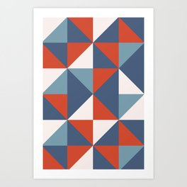 Triangle Pattern in Red + Blue Art Print