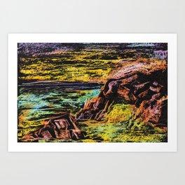 sunset on rocky beach mixed media colorful print Art Print