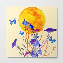 BLUE BUTTERFLIES MORNING GLORY  FULL MOON ART Metal Print