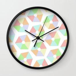 Pastel Rainbow Pinwheels Wall Clock