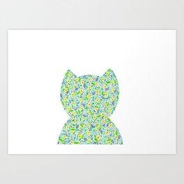 Cat-tus . Cat and Cactus Art Print
