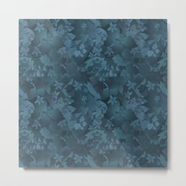 Blue satin floral pattern . Metal Print