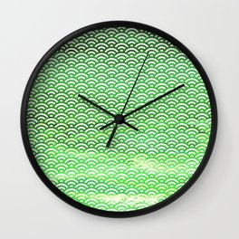 St. Patrick's Day Watercolor Seigaiha Pattern Wall Clock