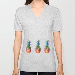 iridescent pineapple Unisex V-Neck