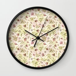 watercolor rose buds pattern Wall Clock