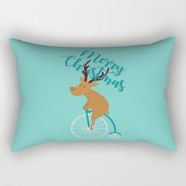 Mr Reindeer having Fun with his Penny-farthing Bicycle Rectangular Pillow