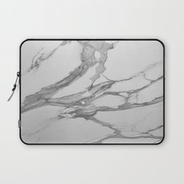 White Marble With Silver-Grey Veins Laptop Sleeve