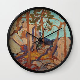 Tom Thomson - Pine Cleft Rocks - Canada, Canadian Oil Painting - Group of Seven Wall Clock