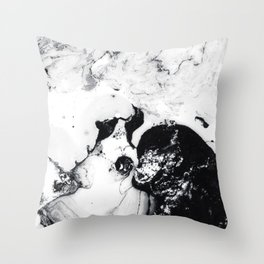 Ink in Milk Black and White liquid Nr.04 Throw Pillow