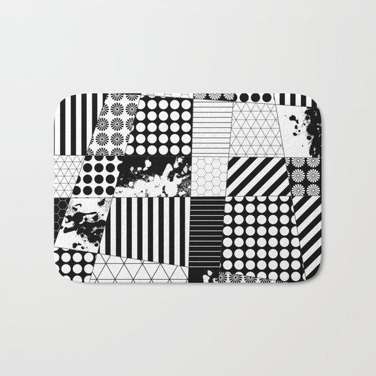 Mosaic Contrast - Black and white, geometric design Bath Mat
