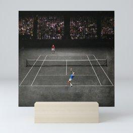 Nadal serving against Isner Mini Art Print