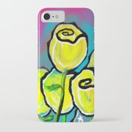 Colorful Yellow Rose Flowers with Purple Blue and Green iPhone Case