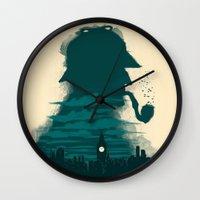 sherlock holmes Wall Clocks featuring Sherlock Holmes by Electra