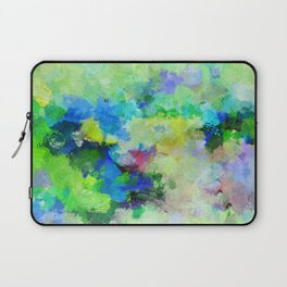 Original Green Abstract Painting on Canvas Laptop Sleeve