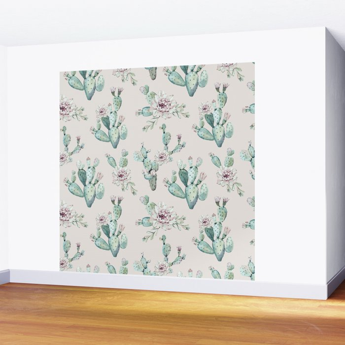 Pretty Cactus Rose Pattern Pale Pink + Green Wall Mural