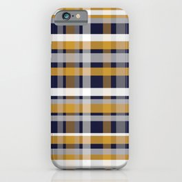Modern Retro Plaid in Mustard Yellow, White, Navy Blue, and Grey iPhone Case