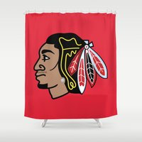 blackhawks Shower Curtains featuring Blackhawks Inspired D Rose by beejammerican